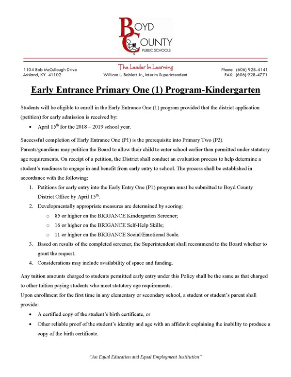 Letter explaining the steps to apply for early entrance into kindergarten.