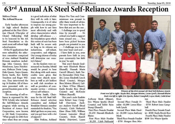 Boyd County students named as AK Self-Reliance Award winners.
