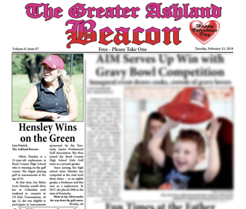 Greater Ashland Beacon story about BCHS golfer Olivia Hensley.