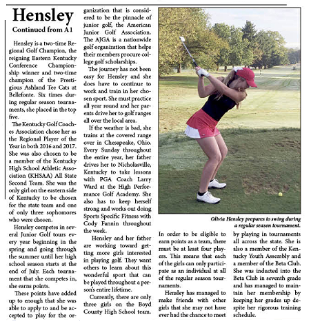Greater Ashland Beacon story, page two, about BCHS golfer Olivia Hensley.