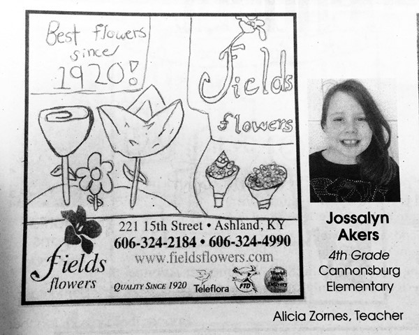 Jossalyn Akers, a 4th grader at Cannonsburg Elementary, received an Advertiser's Choice Award.