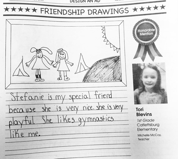 Tori Blevins, a first grade student at Catlettsburg Elementary, had an Honorable Mention in the Friendship Drawing category.