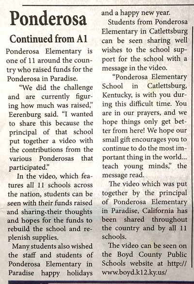 GAB story about Pennies for Ponderosa in California, page 2.