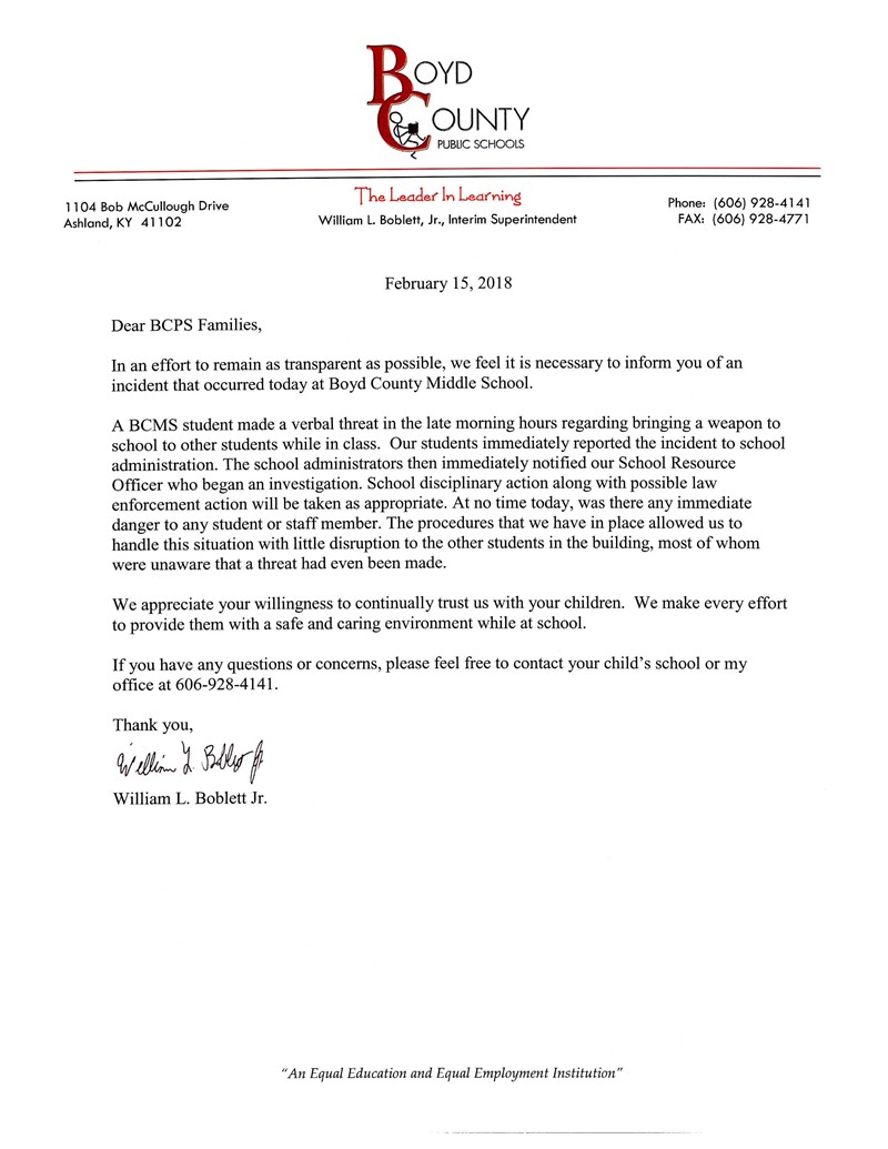 Letter to parents regarding a verbal threat to bring a firearm to