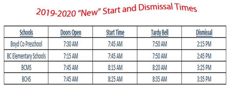 New Start and Dismissal Times