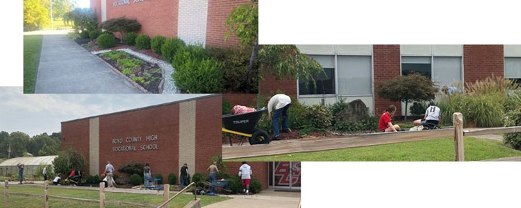 Agriculture students working to make BCCTEC more beautiful.