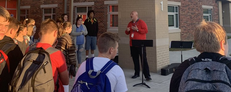 Superintendent Boblett speaking with BCMS Students at the See You at the Pole Event