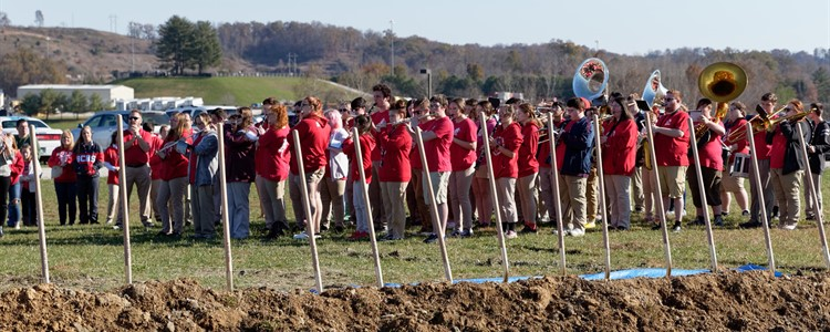 Boyd County Band performing at the Boyd County High School Athletic Stadium Groundbreaking Ceremony on November 10, 2019