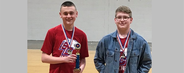 Congratulations BCMS Archery!  First place in the Middle School Division at Raceland Tournament.  Issac Adkins 1st and James Ingles 3rd Place.