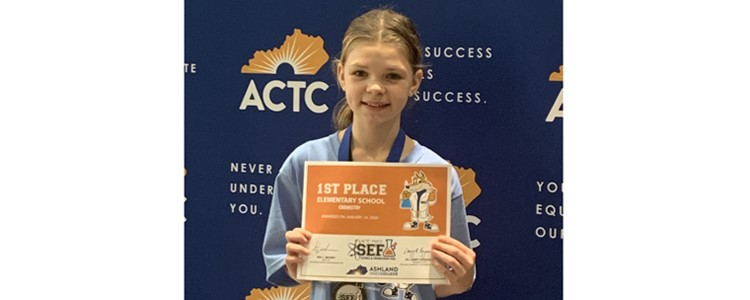 Olivia Steel won First Place at the ACTC Science Fair.  Way to go, Olivia!