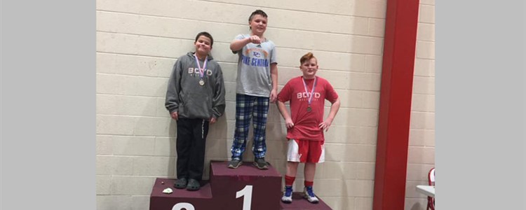Congratulations Cayden Thompson and Tony Leader for placing 2nd and 3rd in the 12U/150lb weight division at the Ashland Mini Matcats Wrestling Tournament!