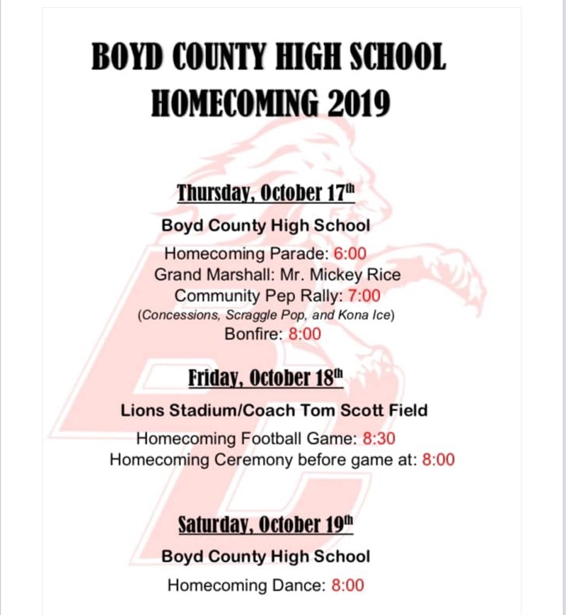 BCHS Homecoming 2019 Events