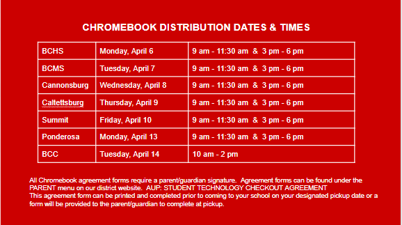 Quick Glance at Chromebook Distribution Schedule