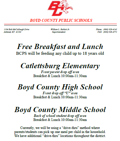 Free Breakfast and Lunch Schedule