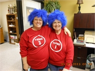 Ponderosa Elementary staff are dressed as Thing 1 and Thing 2 on Dr. Seuss Day.