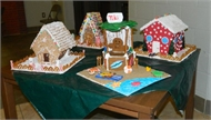 Gingerbread houses are on display at the high school.