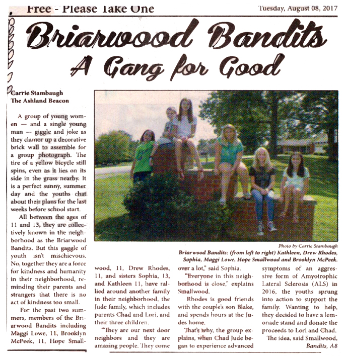 GAB front page story about Briarwood Bandits