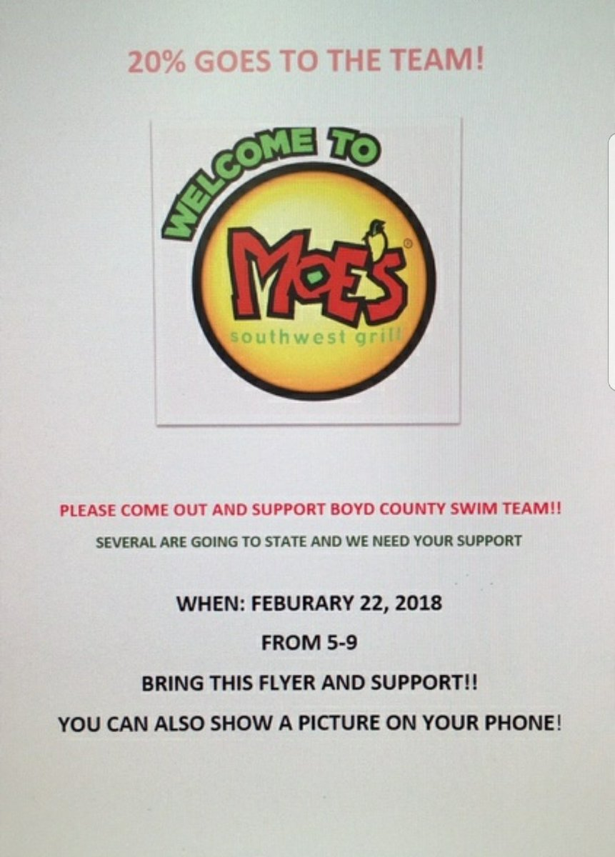 Support flyer for Moe's Southwest Grill.