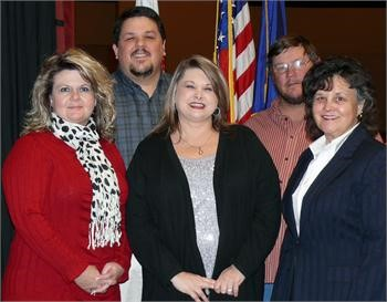 Board members, left to right, front row:  Tammy Pruitt, Linda Day and Dr. Judy Nichols. Back row, left to right:  Chairman Bob Green, Vice Chairman Randall Stapleton.