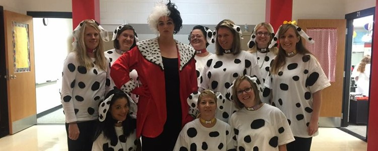 Red wing as Cruella and the 101 Dalmations.