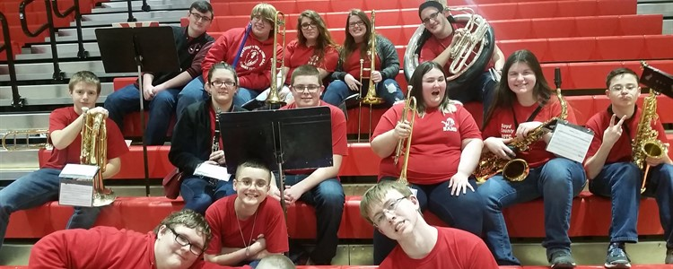 Pep band members add excitement to the games.