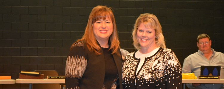 Alison Bays, on the left, and Kelly Deborde, on the right, were two of the district counselors recognized at the February board meeting. Not pictured are Shelly Lemaster - BCHS, Steve Grannis - BCHS, Julie Criss - BCCTEC, Theresa Kazee - Cannonsburg, Penny Fuller - Ponderosa, Deana Sexton - Summit. and Linda Tromboli - Ramey-Estep High.