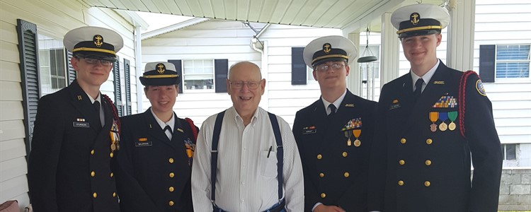 The BCHS NJROTC visited US Army 101st Airborne Korean War Veteran Everrett Kretzer in Grayson. It was his 87th birthday. He is shown here with, left to right, Cadet Brice Sturgeon, Cadet Kayla Baldridge, Cadet Blake Conley and Cadet Dillon Caudill.