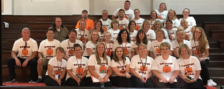 First day group photo of Catlettsburg Elementary staff.