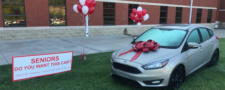 A Ford Focus has been donated by Bill Cole Auto Mall as an incentive for this year's seniors to keep up their grades and their attendance.