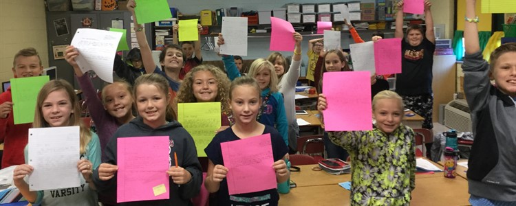 Cannonsburg Elementary students hold Thank You letters they received from Bill Hasse Elementary School in Alvin, Texas. Students sent school supplies to them after learning about the devastating floods in Texas.