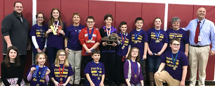 Ponderosa Elementary Academic Team, with Princ. Brian Eerenberg, coaches Carrie Crowe and Donna Ford, and Interim Superintendent Bill Boblett. The team WON the District Governor's Cup competition!