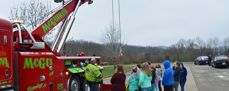 McGuire's Towing had a huge tow truck on display for students.
