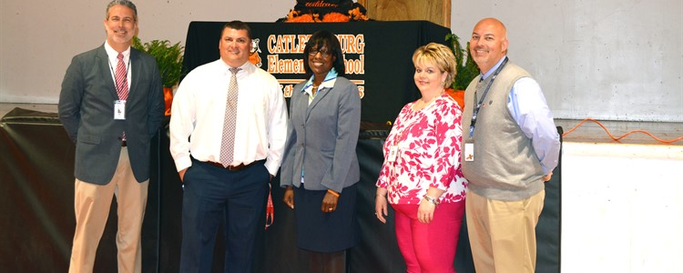 Lt. Governor Jenean Hampton, center, visited Catlettsburg Elementary. Far left, Matt Spade, Jeff Frasure. Far right, Kathy Cook and Interim Superintendent Bill Boblett.
