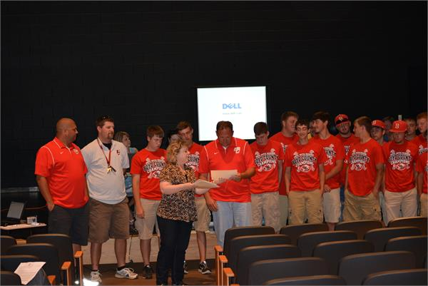 BCHS baseball team recognized at Board of Education meeting.