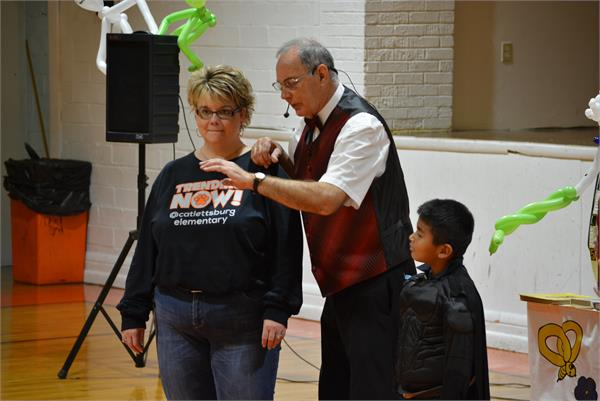 A Catlettsburg teacher shows what a good sport she is by volunteering.