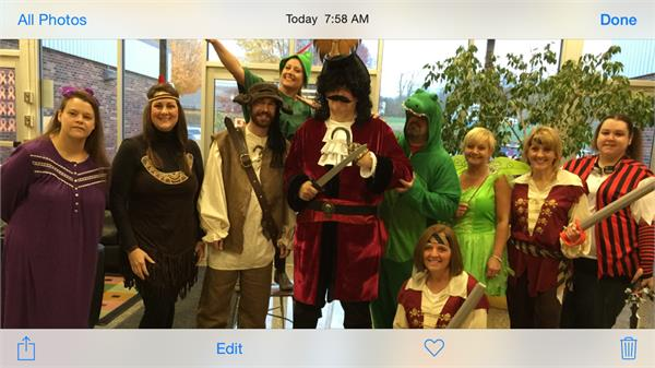 Group picture of those dressed in Peter Pan attire.