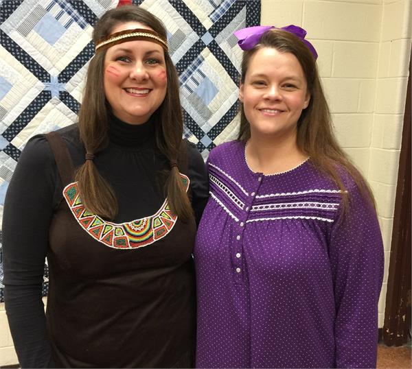 Two BCMS instructors dress as Tiger Lily's Indians.