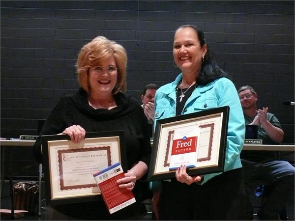 Fred of the Month winners. Teresa Meade and Shelia Duncan.