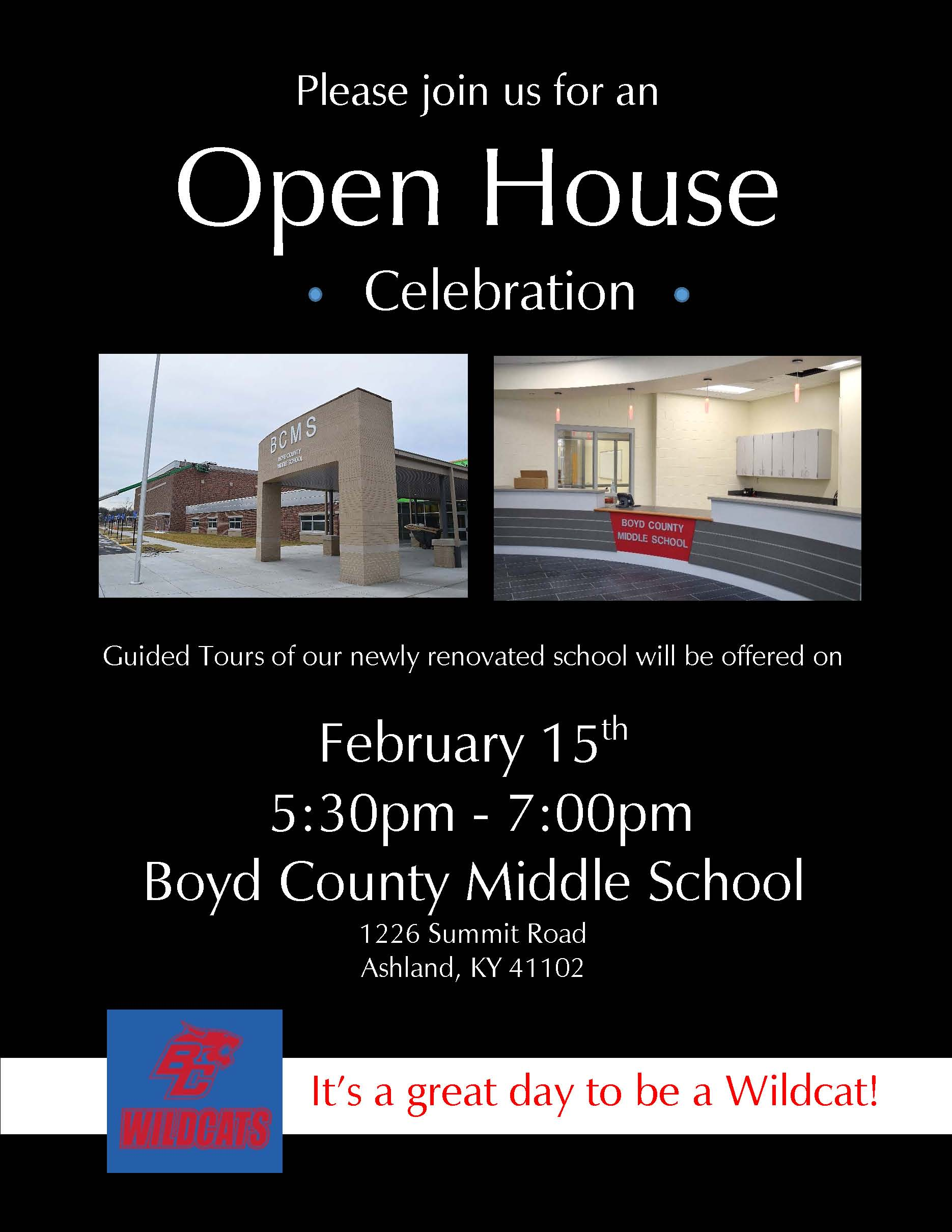Flyer announcing the Open House celebrating the grand re-opening of Boyd County Middle School.