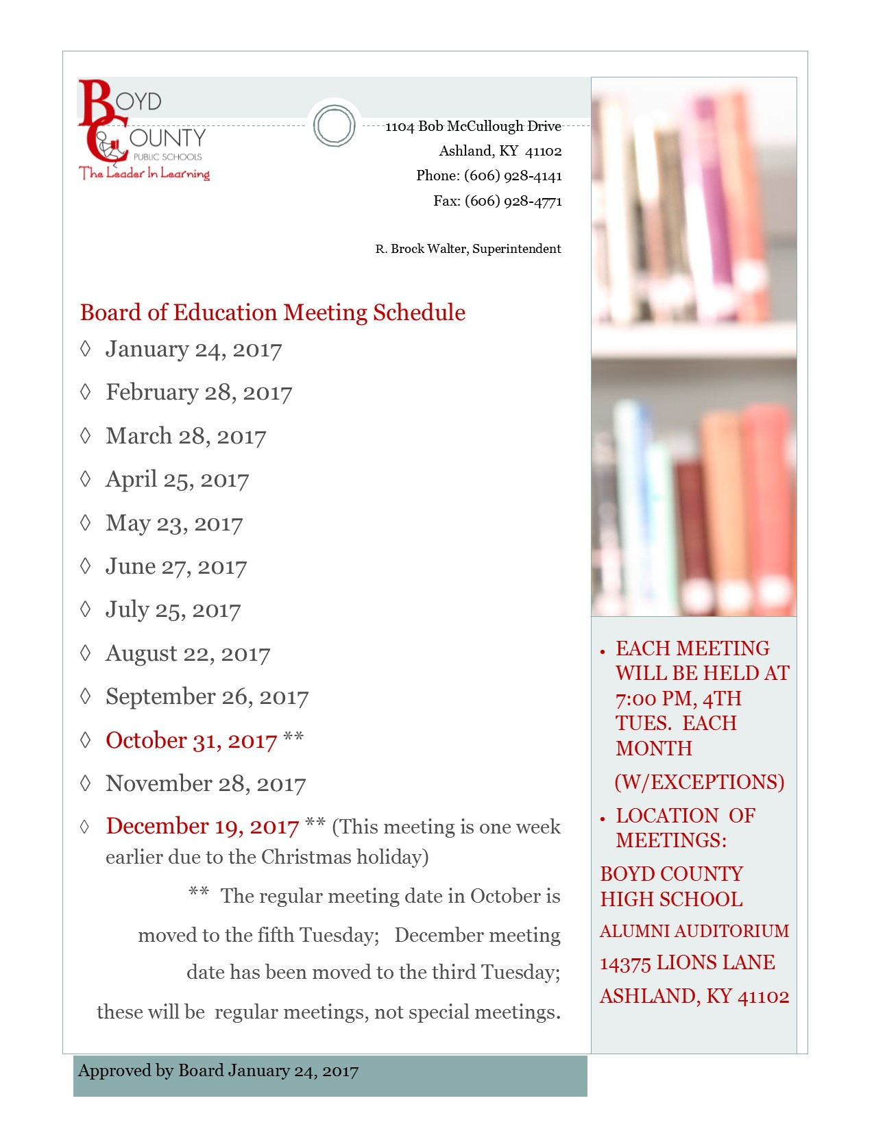 Board of Education schedule for the reamainder of 2017