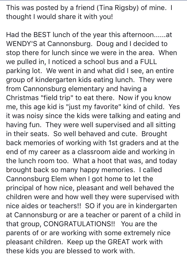 Facebook post about Cannonsburg's kindergartners observed at Wendy's restaurant.