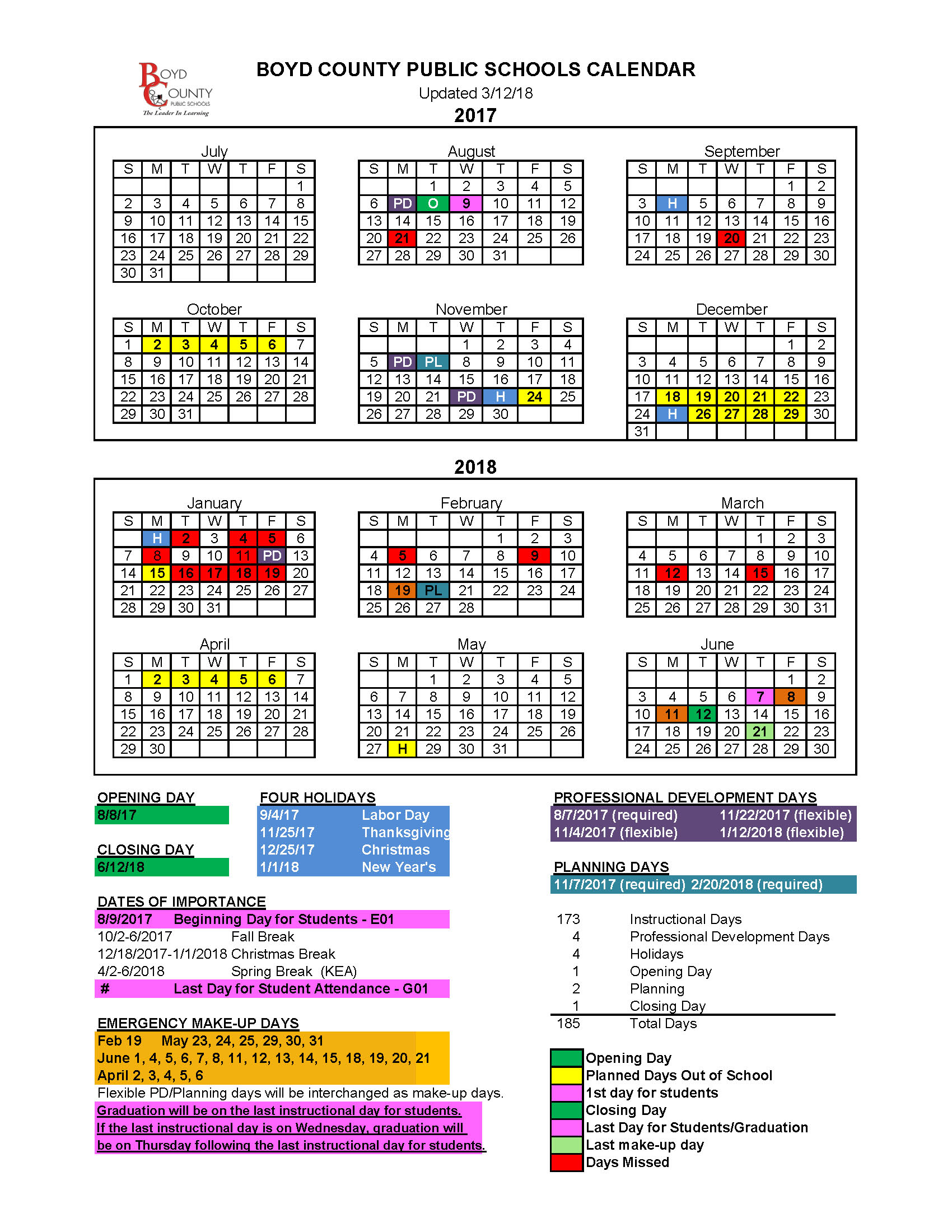 BCPS updated calendar for 17-18.