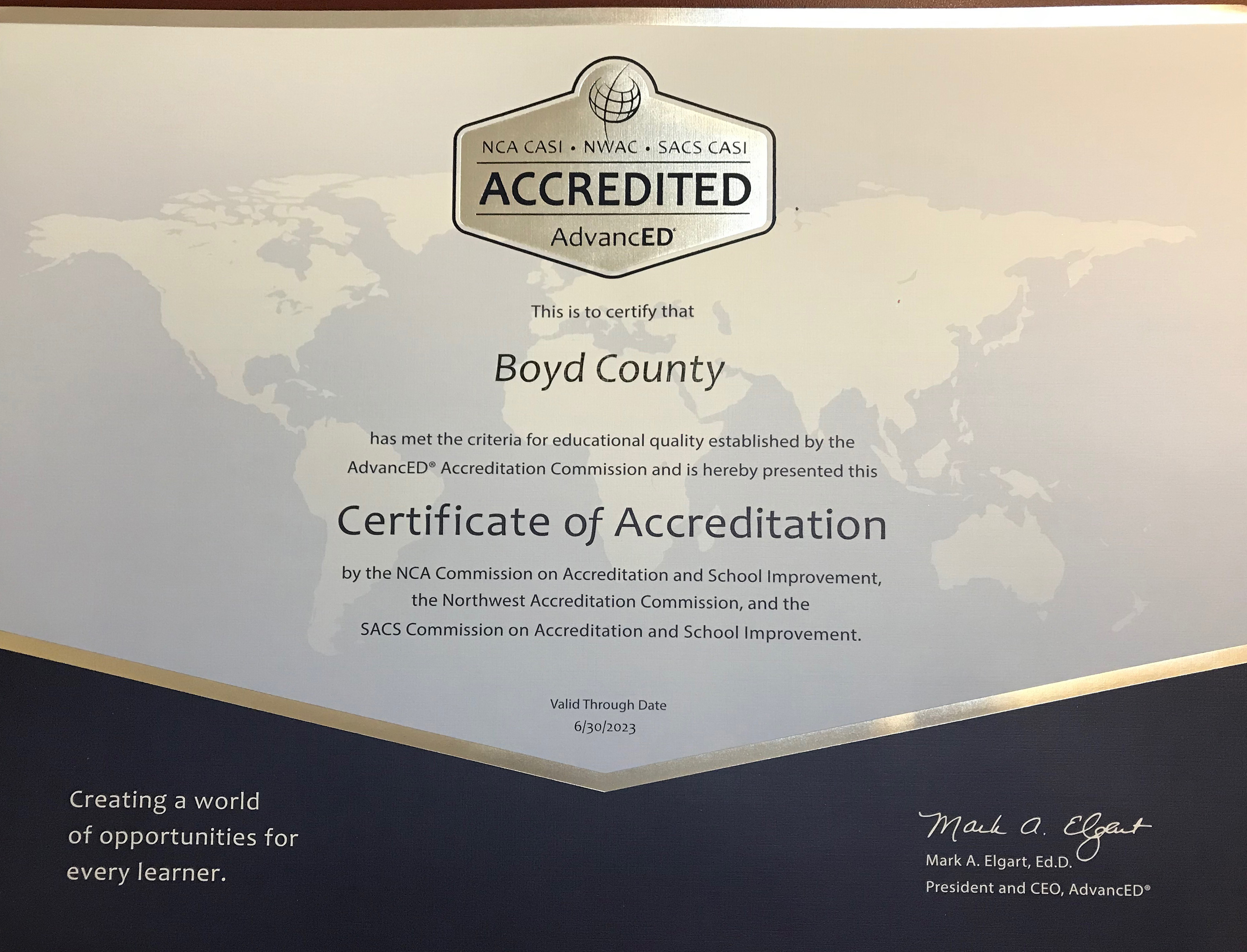 Image of the SACS-CASI AdvancED accreditation certificate.