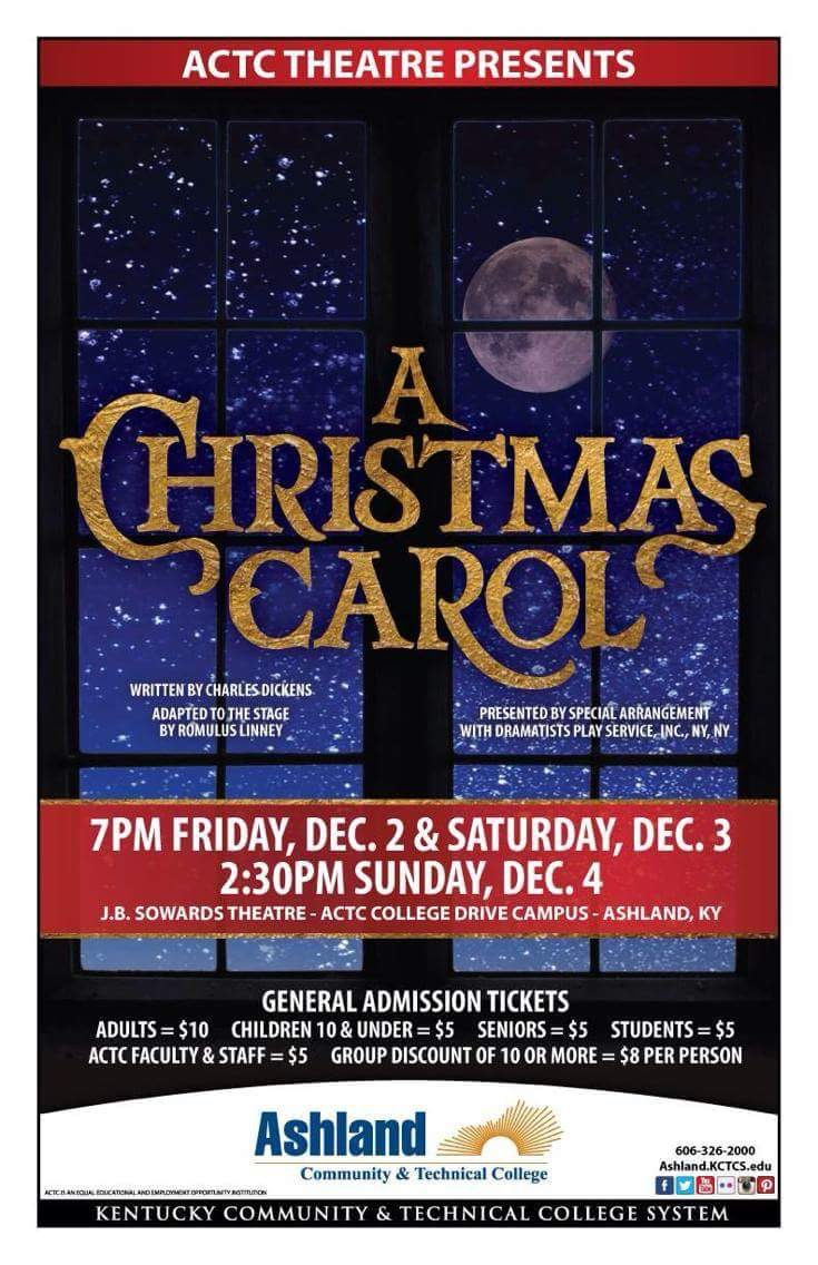 Poster showing the times and dates of the show A Christmas Carol.