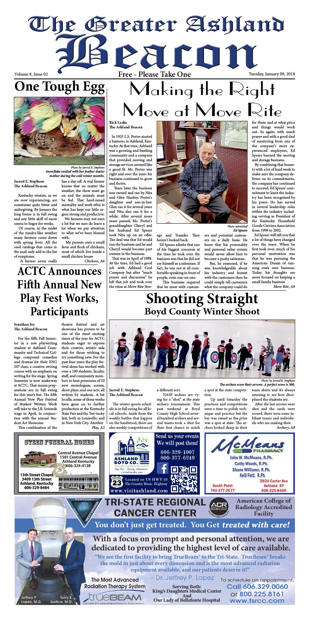 Image of the Greater Ashland Beacon article on the archery teams and their winter tournament.