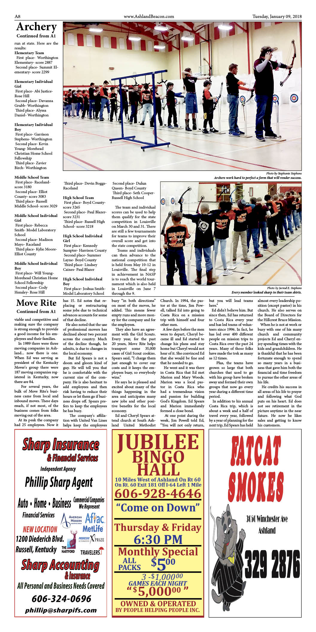 Page 8 of the Greater Ashland Beacon article about the winter archery tournament.