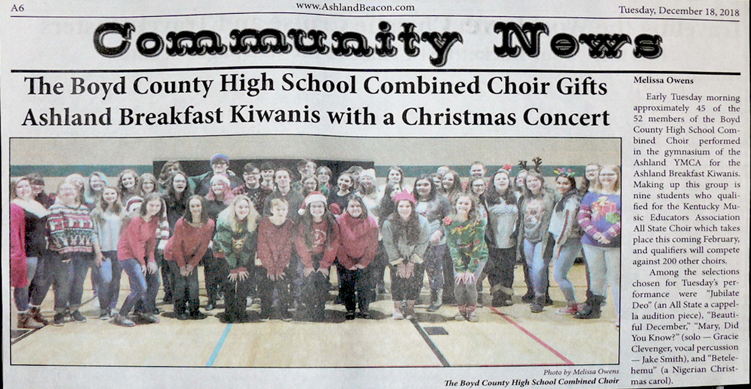 BCHS Combined Choir article from the GAB.