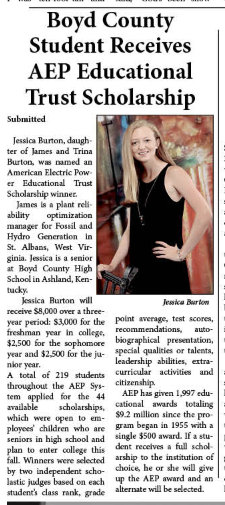 GAB article on Jessica Burton, recipient of the American Electric Power Educational Trust Scholarship.