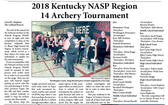 Picture of the Greater Ashland Beacon article about the National Archery in Schools Program Tournament.
