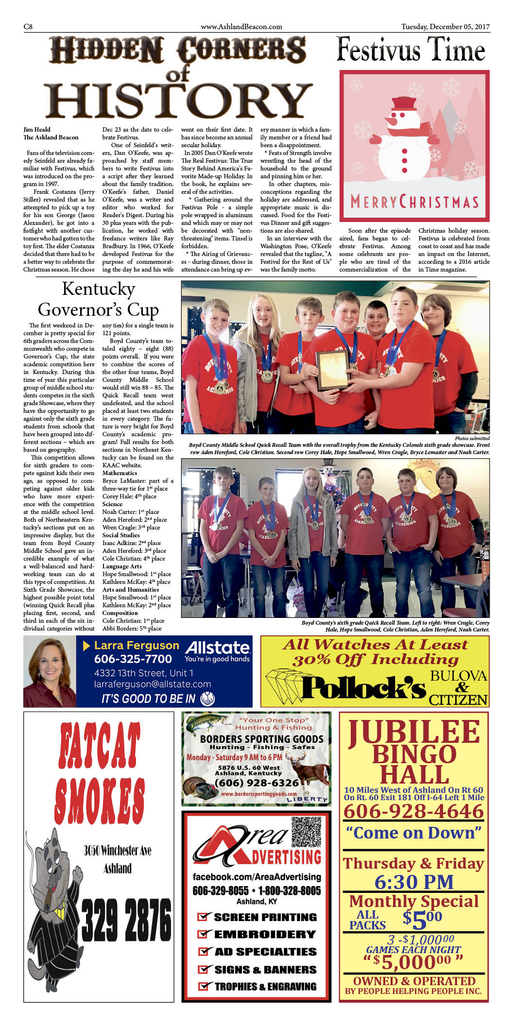 Greater Ashland Beacon story on BCMS 6th graders who won at Governor's Cup